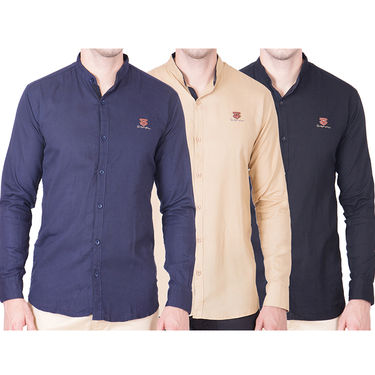 Cliths Pack of 3 Cotton Shirts For Men_Md078