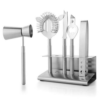 Mosaic Set of 5 Bar Tool Set - Silver