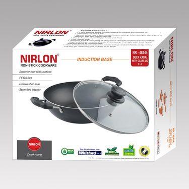 Nirlon Non-Stick Induction Deep Kadhai With Lid 2.6 Ltr_NR48444