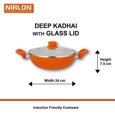 Nirlon  4 Layer Ceramic Induction Deep Kadhai With Lid 24 cm_NR48818