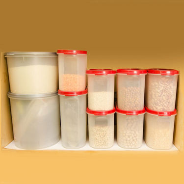 Cutting EDGE Oblong Air Tight Storage Canisters Set Of 6 Big Red
