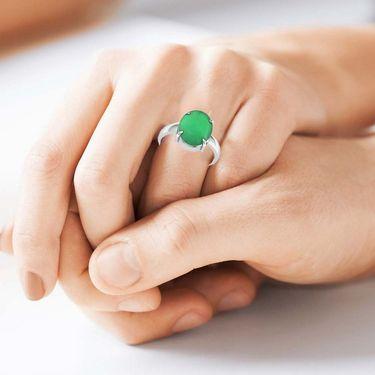 Kiara Jewellery Certified Haqiq 3.0 cts & 3.25 Ratti Green Onyx Ring_Onrw