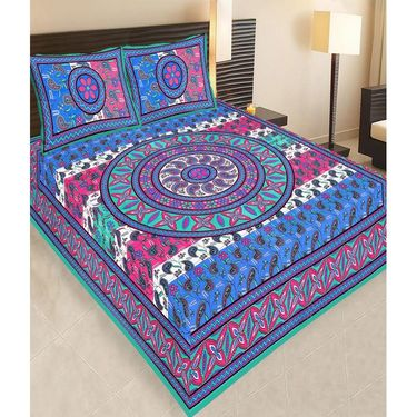 Traditional Jaipuri 100% Cotton Sanganeri Printed 6 Double Bedsheets With 12 Pillow Covers-PF103WP6B