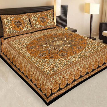 Traditional Jaipuri 100% Cotton Sanganeri Printed 6 Double Bedsheets With 12Pillow Covers-PF104WP6B