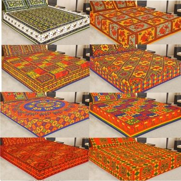 8 Cotton King Size Bedsheets and 16 Pillow Covers with Jaipuri Sanganeri Print-PF107