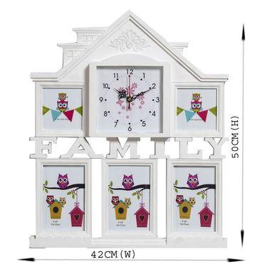 Elegant White Collage Photoframe cum Clock