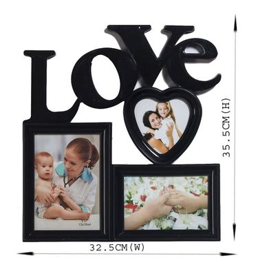 Love Message 3 Pictures Collage Photo Frame