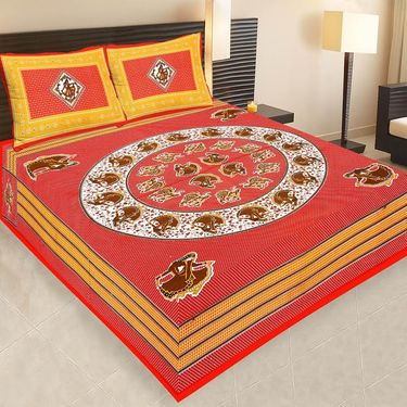 Set of 4  Jaipuri Cotton Sanganeri Printed  Double Bedsheets With 8 Pillow Covers-PF1D4BWP