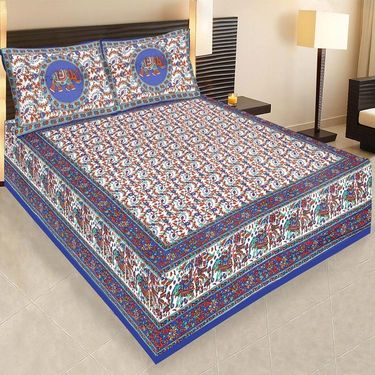 Set of 5 Jaipuri Cotton Sanganeri Printed  Double Bedsheets With 10 Pillow Covers-PF1D5BWP