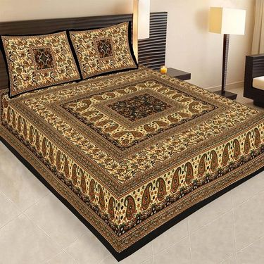 Set of 7 Jaipuri Cotton Sanganeri Printed  Double Bedsheets With 14 Pillow Covers-PF3D7BWP