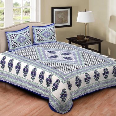 Set of 4 Jaipuri Cotton king size  Double Bedsheets With 8 Pillow Covers-PF9D4BWP