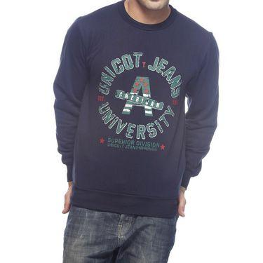 Delhi Seven Printed Round Neck Woolen Sweatshirt For Men - Blue