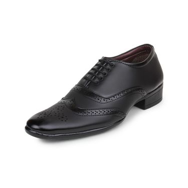 Pede Milan Synthetic Leather Black Formal Shoes -pde46