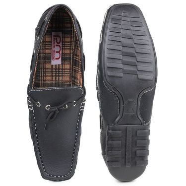 Pede Milan Synthetic Leather Black Loafers -pde04