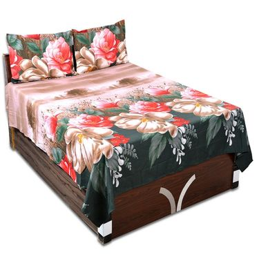 Pinguz 3D Print Double Polysatin Bed Sheet With Two Pillow Cover Set-PNG3DBS00black