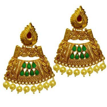 Pourni Stylish Brass Earring_Prer41 - Golden