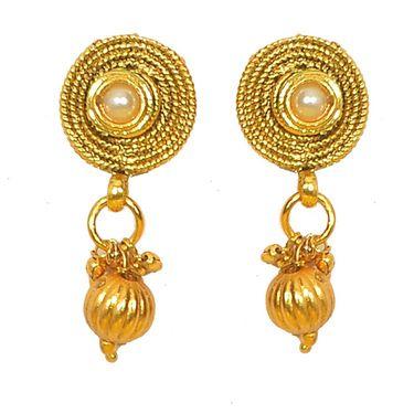 Pourni Stylish Brass Earring_Prer43 - Golden