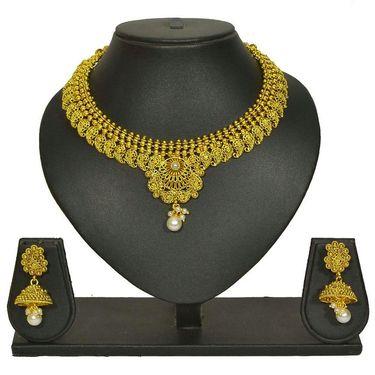 Pourni Stylish Brass Necklace Set_Prnk57 - Golden