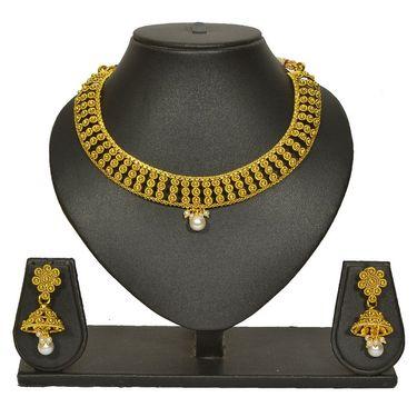 Pourni Stylish Brass Necklace Set_Prnk63 - Golden