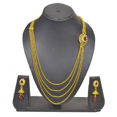 Pourni Stylish Brass Necklace Set_Prnk89 - Golden