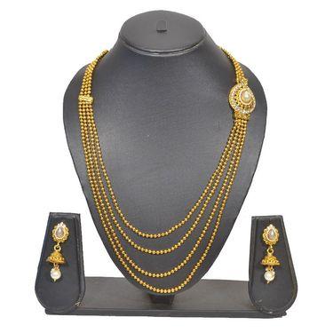 Pourni Stylish Brass Necklace Set_Prnk90 - Golden
