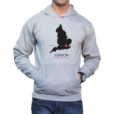 Effit Printed Regular Fit Full Sleeves Cotton Hoddies for Men - Grey_PTLHODY0076