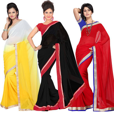 Pack of 3 Silkbazar Plain Chiffon Saree-feb_noor_3
