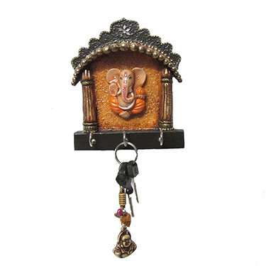 eCraftIndia Paper-Mache Key Holder with Lord Ganesha - Multicolor