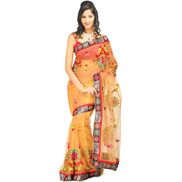 Party Wear Collection of 3 Embroidered Designer Sarees (3DS1)