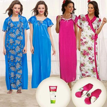 Pack of 5 Clovia Satin Rich Night Wear