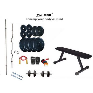 Protoner Weight Lifting Home Gym 56 Kg + Flat Bench + 4 Rods (1 Zig Zag) + Accessories