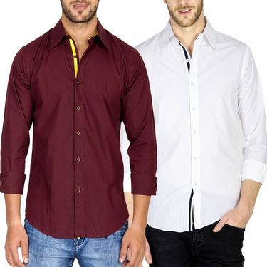 Pack of 2 Incynk Plain Cotton Shirt_qsc52 - Maroon & White