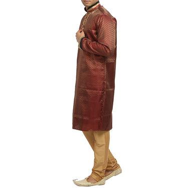 Runako Silk Full Sleeves Kurta Pyjama_RK4055 - Rust