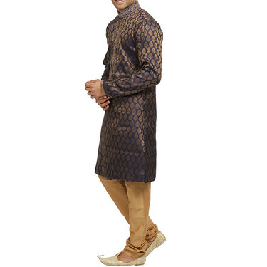 Runako Silk Full Sleeves Kurta Pyjama_RK4056 - Blue & Golden