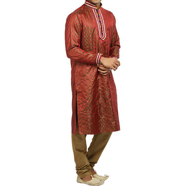 Runako Silk Full Sleeves Kurta Pyjama_RK4063 - Dark Red