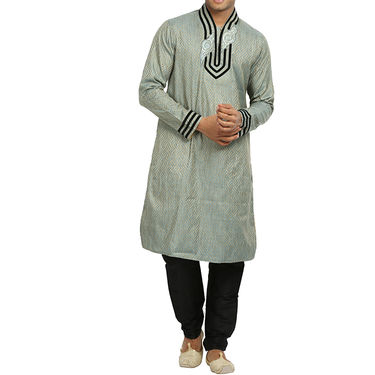 Runako Silk Full Sleeves Kurta Pyjama_RK4068 - Silver Grey