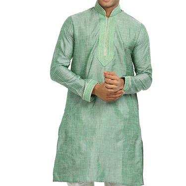 Runako Cotton Linen Full Sleeves Kurta Pyjama_RK4072 - Aquamarine