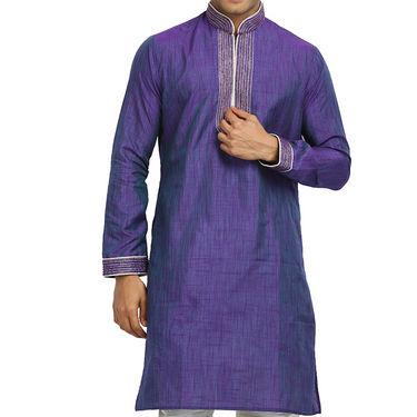 Runako Regular Fit Printed Party Wear Kurta Pyjama For Men_RK4075 - Purple