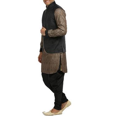 Runako Silk & Velvet Full Sleeves Kurta Pyjama_RK4089 - Sandstone & Black
