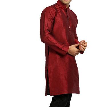 Runako Regular Fit Printed Party Wear Silk Kurta For Men_RK4114 - Maroon