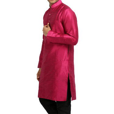Runako Regular Fit Printed Party Wear Silk Kurta For Men_RK4116 - Pink