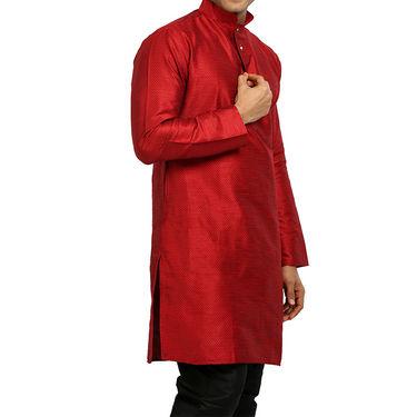 Runako Regular Fit Printed Party Wear Silk Kurta For Men_RK4120 - Red