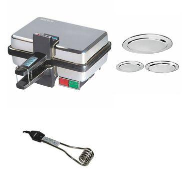 Combo Of Detak 3 Pcs Oval Tray Set & Sandwich Maker