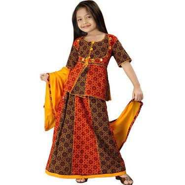 Little India Rajasthani Bandhej Multicolour Lehanga Choli - DLI3GED107A