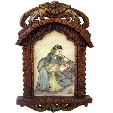 Rajasthani Lady Portrait Wooden Jharokha Gift -135