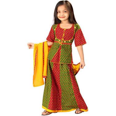 Little India Rajasthani Booti Work Lehanga Choli - Red Green - DLI3GED103B