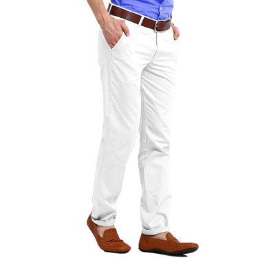 Perfect Plain Slim Fit Cotton Chinos For Men_skc6005 - White
