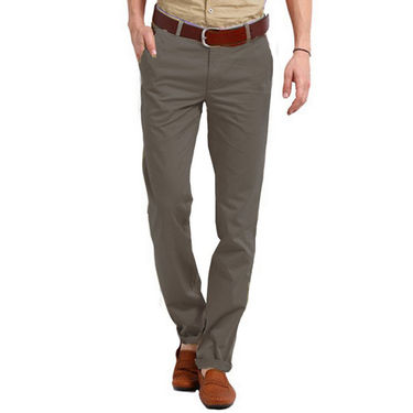 Perfect Plain Slim Fit Cotton Chinos For Men_skc6008 - Grey