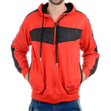 Blended Cotton Full Sleeves Sweatshirt_Swdl5 - Orange & Black