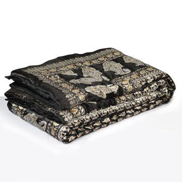 Set of 2 Jaipuri Silk Razai with Gold Prints - Red or Black or Brown or Blue